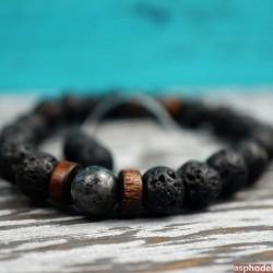 Stylový černý panský náramek z lávových kamenů EPOCH