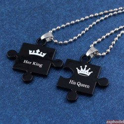 Náhrdelníky pro páry, přívěsek pro dva King & Queen v černé barvě