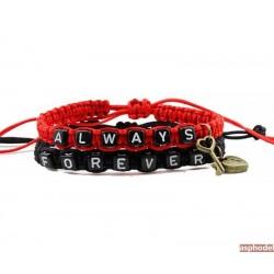 Nádherné náramky pro páry Always Forever (black & red) (cena je za pár)