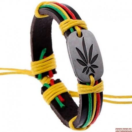 Kožený rasta náramek se znakem Cannabis, Marihuana