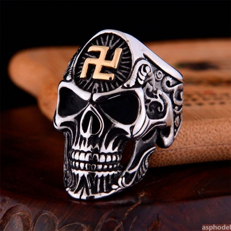 Pánský motorkářský prsten Lebka Svastika