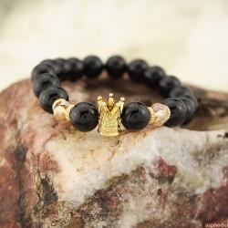 Náramek s královskou korunou z leštěných korálů (zlatá barva)