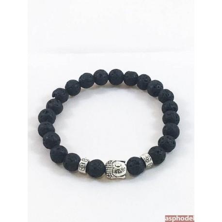 f0bcd9723 Černo - stříbrný náramek Buddha