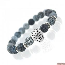 Náramek s leopardem a se zimními kameny