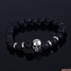 Černý náramek s lávovými kameny a lebkou