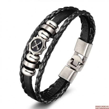 Pánský černý kožený náramek