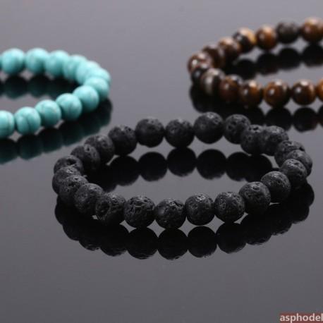 Náramek z přírodních či lávových kamenů - černý, tyrkysový a hnědý