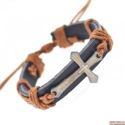 Pánský kožený náramek kříž hnědá
