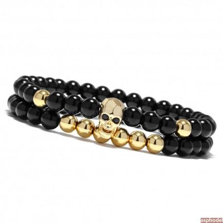 Luxusní lesklý - zlatý pánský náramek Lebka (cena za pár)