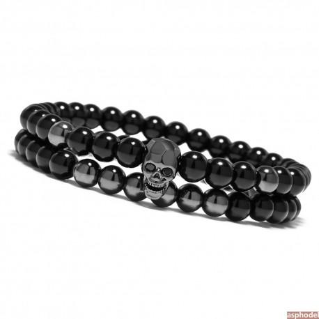 Luxusní lesklý - černý pánský náramek Lebka (cena za pár)