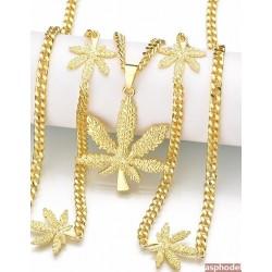 Hip Hop Přívěsek GANJA s řetízkem (zlatá barva)