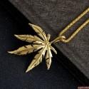 Hip Hop přívěsek list marihuany s řetízkem (zlatá barva)