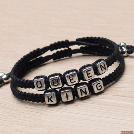 Náramky pro páry Queen a King (černý)