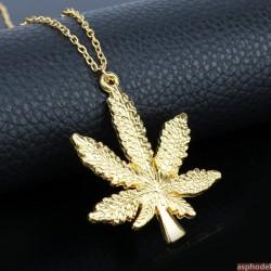 Přívěsek marihuana s řetízkem (barva zlatá)