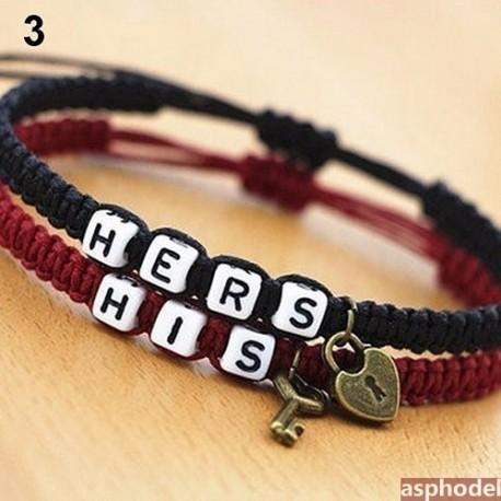 Nádherné náramky pro páry HIS & HERS (black red)