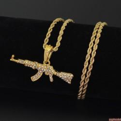 Hip-Hop přívěsek samopal AK-47 zlatý s řetízkem