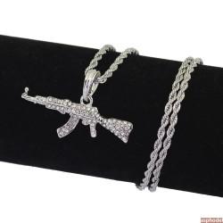 Hip-Hop přívěsek samopal AK-47 stříbrný s řetízkem
