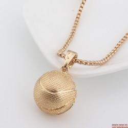 Hip-Hop přívěsek basketbalový míč s řetízkem (zlatá barva)