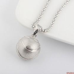 Hip-Hop přívěsek basketbalový míč s řetízkem (stříbrná barva)