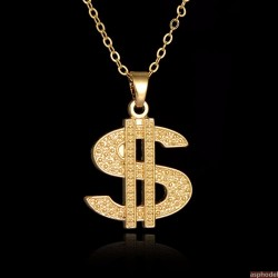 Hip-Hop přívěsek Dollar Badge s řetízkem