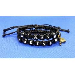 Nádherné náramky pro páry Always Forever (black) (cena je za pár)